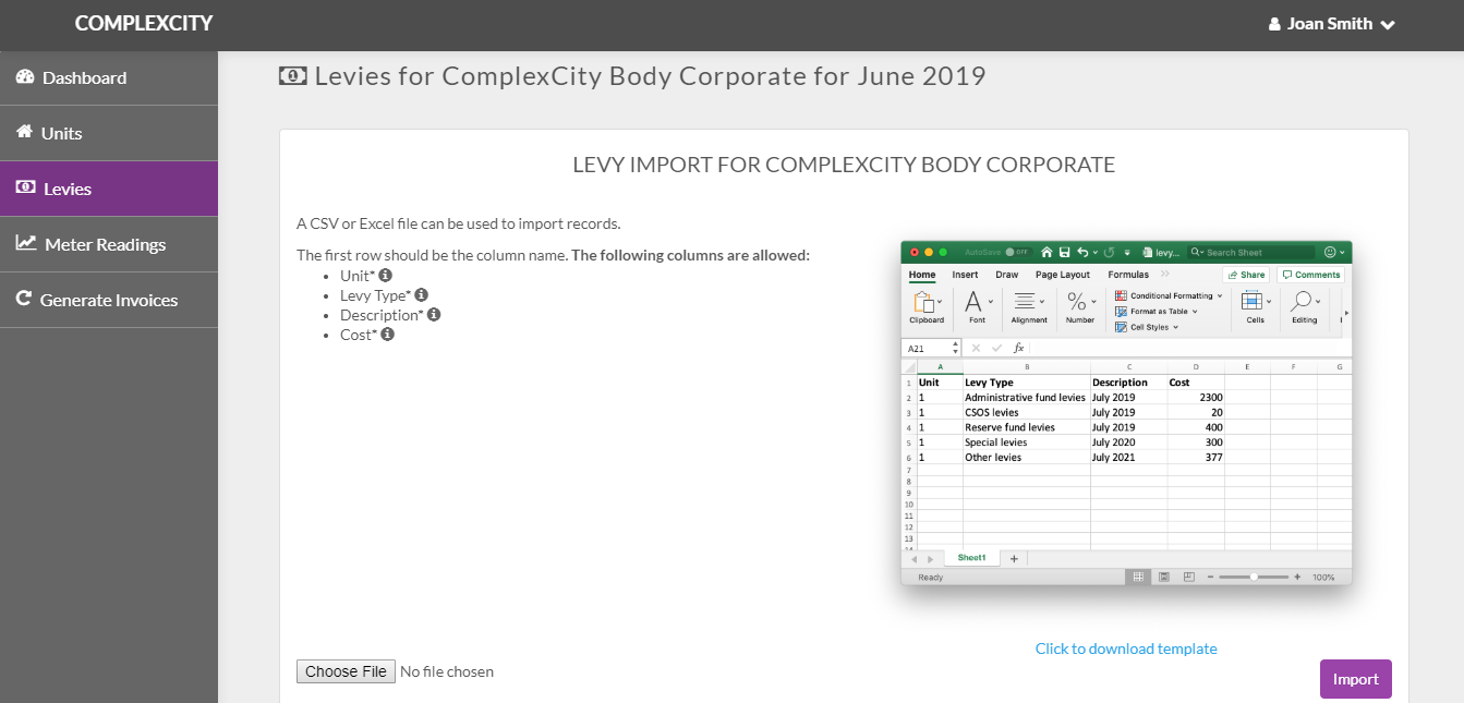 Levies Import Guide - ComplexCity